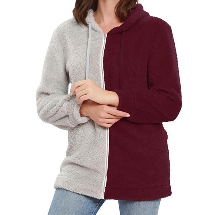 Rouge Chemisier Tops Casual Femmes Sweat D'hiver Patchwork shirt Zipper Capuche znxHUfSq