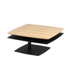 905a21e787d4c7 TABLE BASSE Table basse carrée double plateau bois et noir