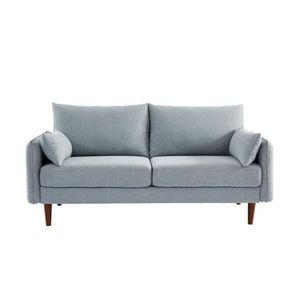 CANAPÉ - SOFA - DIVAN SOLVEIG Canapé droit 2/3 places - Tissu gris clair