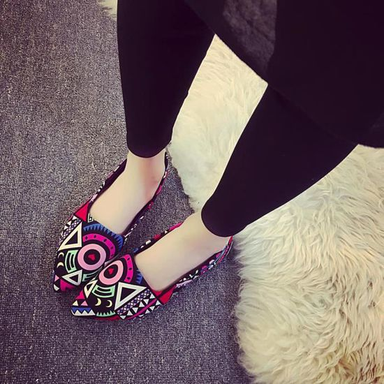 Chaussures@ Femmes Impression Chaussures plates pointues Multicolore + 37  Multicolore - Achat / Vente slip-on
