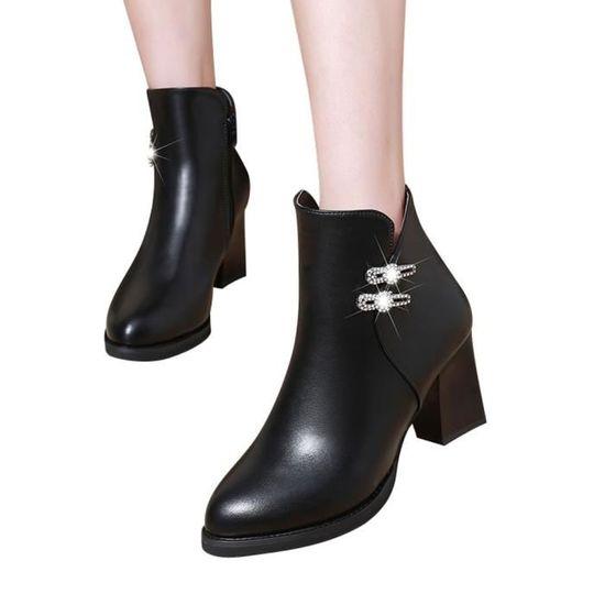 Talon Casual En Cuir Zipper Bottes Strass Martin Jeffrey®bottes Haut Ljd80815898bk35 Noir Chaussures 7ECOqx