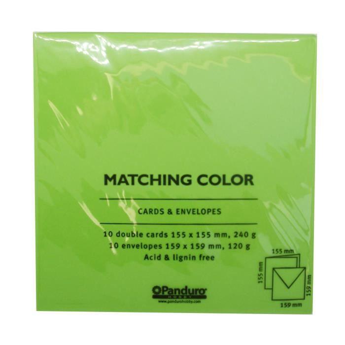 PANDURO Enveloppes Cartes Vert printemps x10 - Carrées pré-pliées - Poids 240 g - 155x155 cm