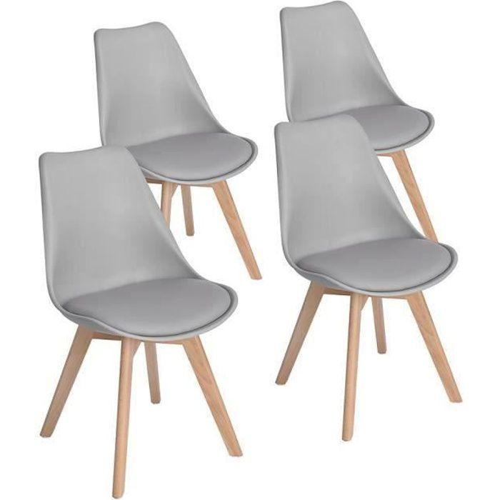 HJ STORE Ensemble de 4 chaises de cuisine en bois, chaise de bureau rétro  rembourrée avec diamants en bois de hêtre massif - Blanc