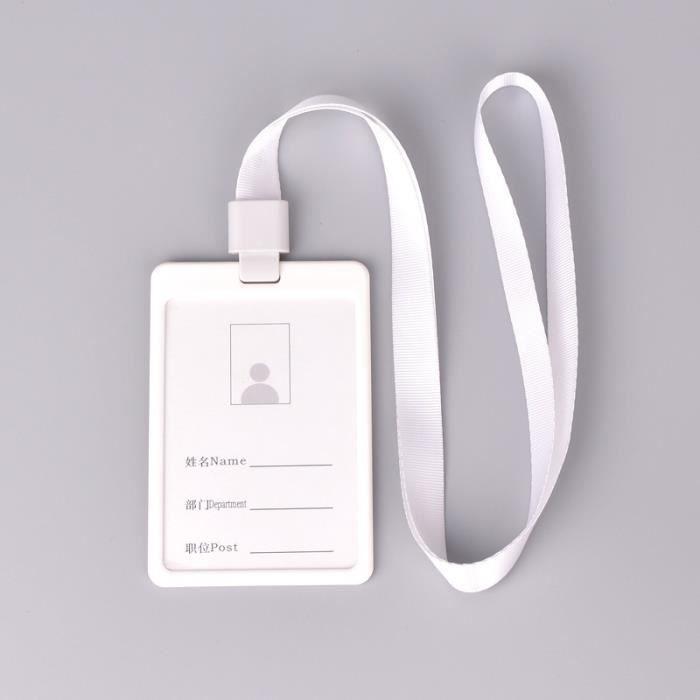 BLANC Etui Porte Badge Carte Visite ID Travail Identite Housse En Plastique Pochette Protecteur Acces Bus Avec Cordon