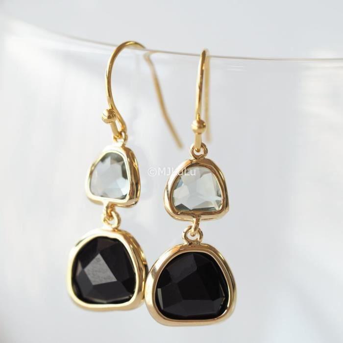 Craze Onyx noir et quartz fumé Double Pierre Dangle Boucles doreilles