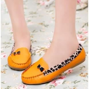 Mode féminine modèles chaussures Pois chaussures plates chaussures de dame de léopard chaussures, jaune 38
