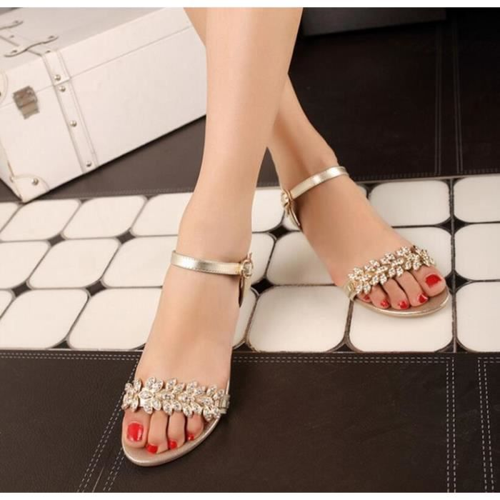 746f291b48d34 2016 strass perles hasp chaussures plates femmes solides bout ouvert ...