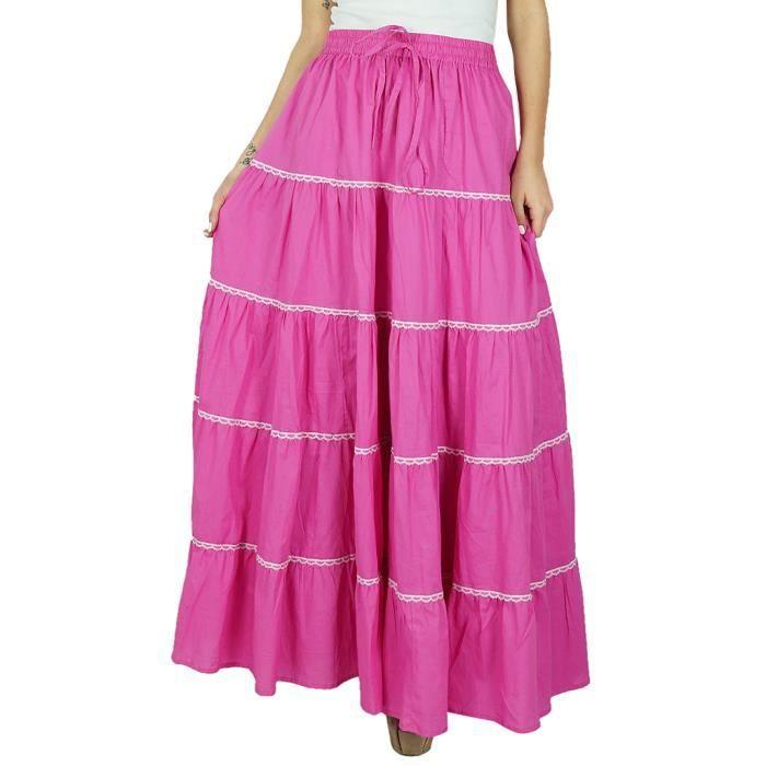 2dfe980e5a553 Bimba femmes évasé coton long maxi élastique jupe taille Rose Rose ...