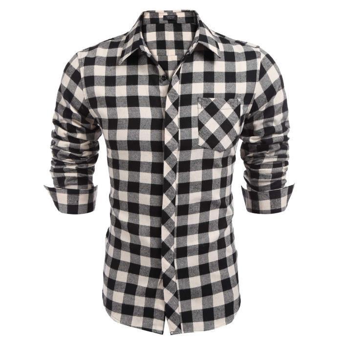 Homme chemise carreaux régulier à manches longues col roulé Noir ... 1091e39b61fb