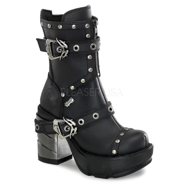 Demonia SINISTER-201 3 1/2 Inch Chromed ABS Heel, 1 1/2 Inch Moulded Pu PF Boot