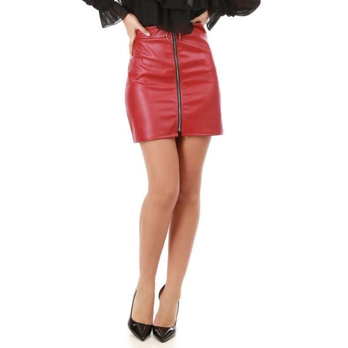 3cc96cf3149 Mini jupe bordeaux simili cuir-S Rouge Rouge - Achat   Vente jupe ...