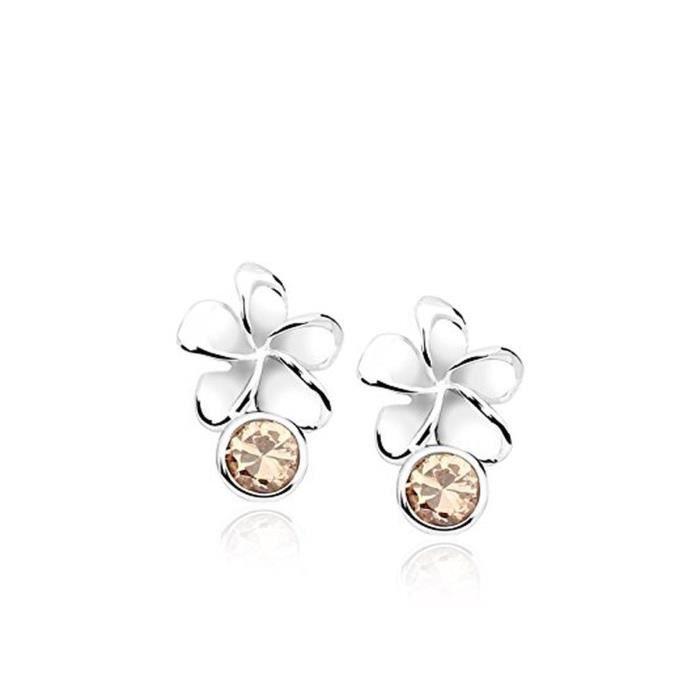 PURE - en argent sterling 925 clous doreille fleur avec zircone cubique Champagne Bijoux Femme Boucles doreilles