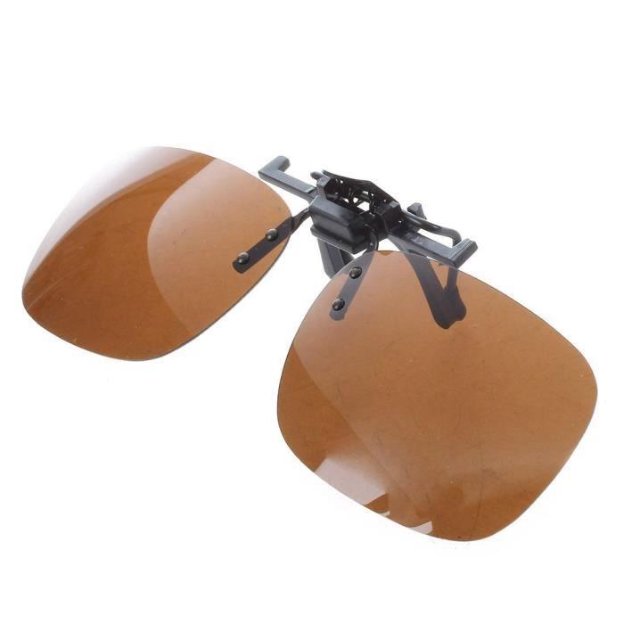 SODIAL(R) Unisexe Rectangle modulable Clip sur lunettes de soleil polarisees Tea-Couleur