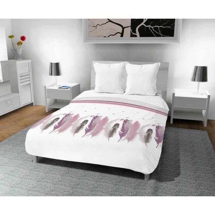 couette imprim e 240x220 cm plumette blanc couette pour 2 personnes motif plume ultra tendance. Black Bedroom Furniture Sets. Home Design Ideas