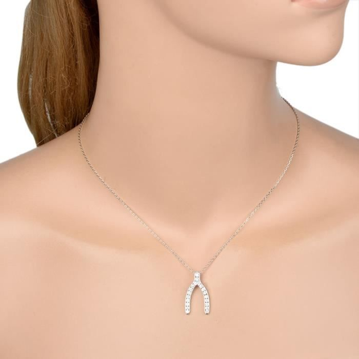 EVER FAITH® Argent925 Wishbone Bling Oxyde de Zirconium Hes just not that into you Beth le même style Collier Chaîne N06702-1