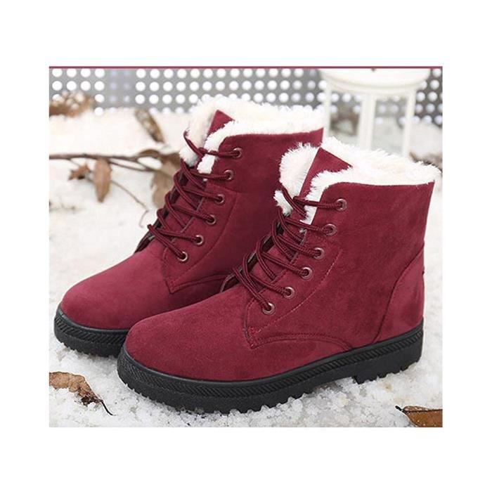 Minetom Femmes Automne Hiver Bottes de Neige Cheville Chaudes Fourrure Laçage Chaussures Plates kaRhKGb