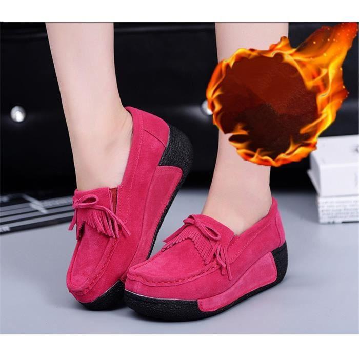 Moccasin Femme Meilleure Qualité Coton Chaussure Plus De CachemireHiver Moccasins Poids Léger Confortable Gland Taille 35-40