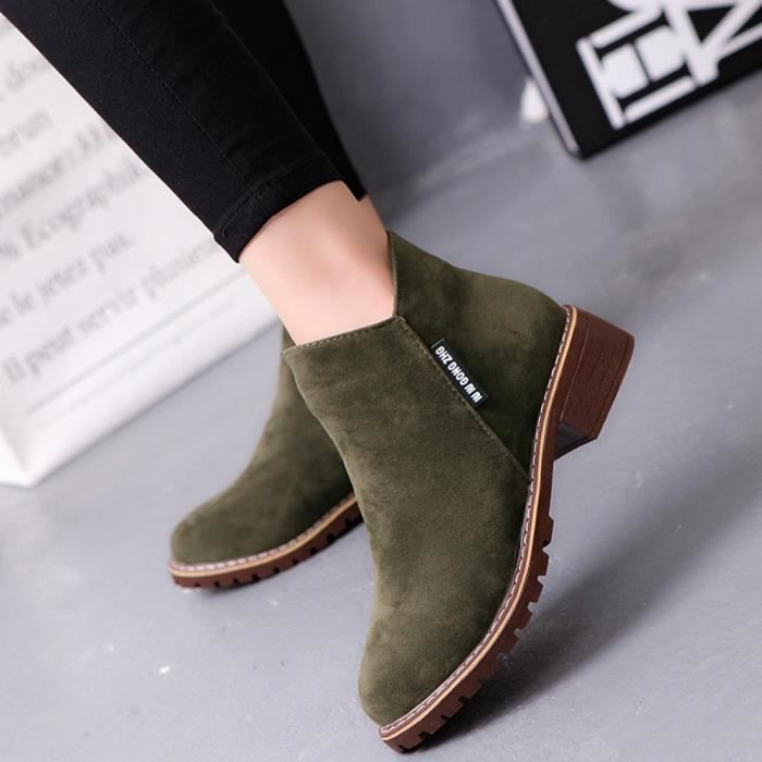 Boots Toe Trim Martin y Ankle Verte Round Leather 6425 Low Arme Fashion Shoes Casual Femmes 1xC0nwqCa
