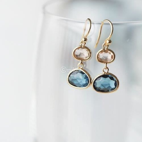 Womens Simulated Blue Sapphire And Simulated Lt Topaz Drop Earrings M9KCP