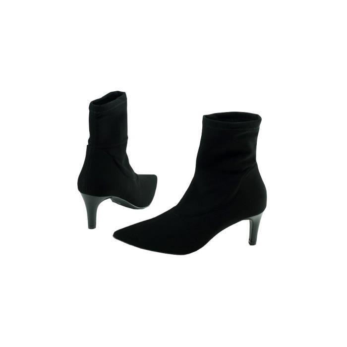 Panthea - Bottine stretch lycra élastiqué pointue talon fin marque Angelina chaussures Femme petites pointures tailles cuir noir