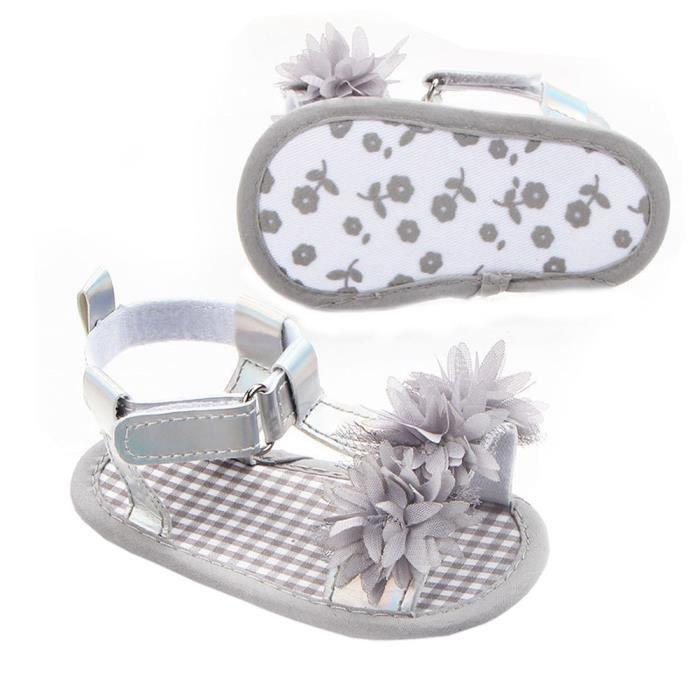 BOTTE Nouveau-né Bébé Filles Fleur Sandales Crèche Anti Slip Semelle Souple Chaussures@GrisHM L3Wzi14