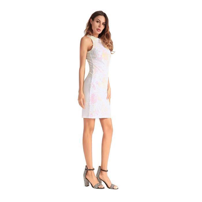WoWa® Femme Robe à Paillettes Robe de Soirée Sans Manche Robe à Paillettes - Blanc