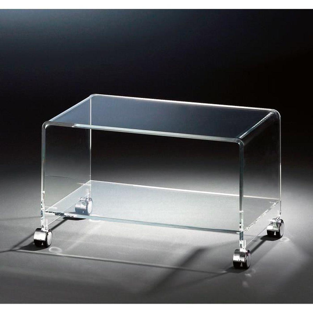 meuble tv mobile en acrylique haute qualit 4 roulettes chromique transparent 63 x 38 cm h. Black Bedroom Furniture Sets. Home Design Ideas