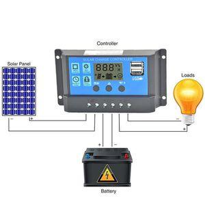 KIT PHOTOVOLTAIQUE Contrôleur de charge de panneau solaire USB 20A 12