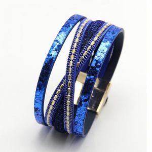 BRACELET - GOURMETTE Bracelets bleu ZG Gros Bohème Bracel Tissé Tressé