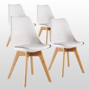 CHAISE Lot de 4 Chaises Lorenzo Style Scandinave Blanches