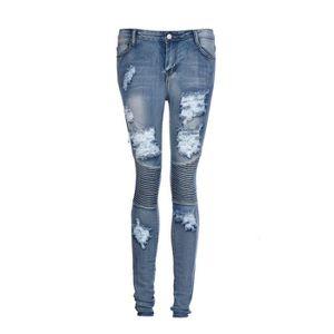 JEANS denim pour femmes Pantalons à crayons déchirés Pan 5b173b33594d