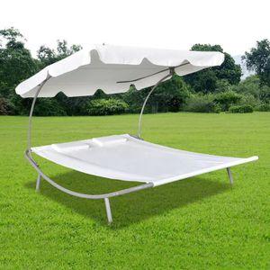 CHAISE LONGUE Chaise Longue Double Chaise de Jardin Lit avec Auv