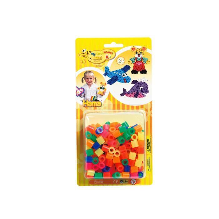 HAMA Blister de 250 perles Maxi mélange néon