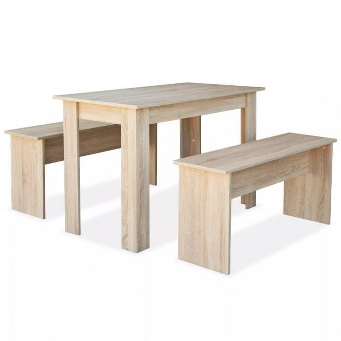 Magnifique Table De Salle A Manger Et Bancs 3 Pcs Agglomere Chene