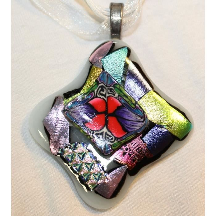 Womens Dichroic Glass Pendant With Polymer Clay Cane Work On Organza Cord SA0J2