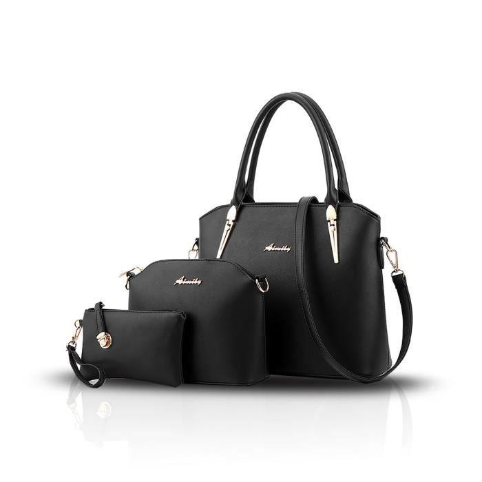 Sac à main des nouvelles femmes de mode Trois ensembles de sacs à main + Sacs à bandoulière + Porte-monnaie QOFYL