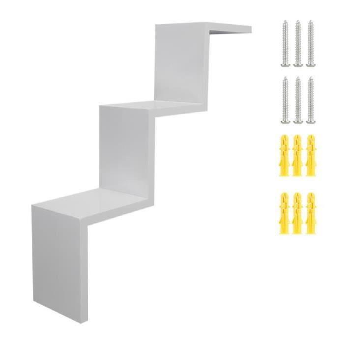 Meuble escalier blanc laque achat vente meuble for Meuble zig zag