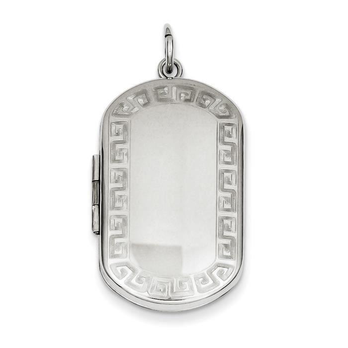 Argent 925/1000 clé grecque pendentif-rectangulaire-Bordure