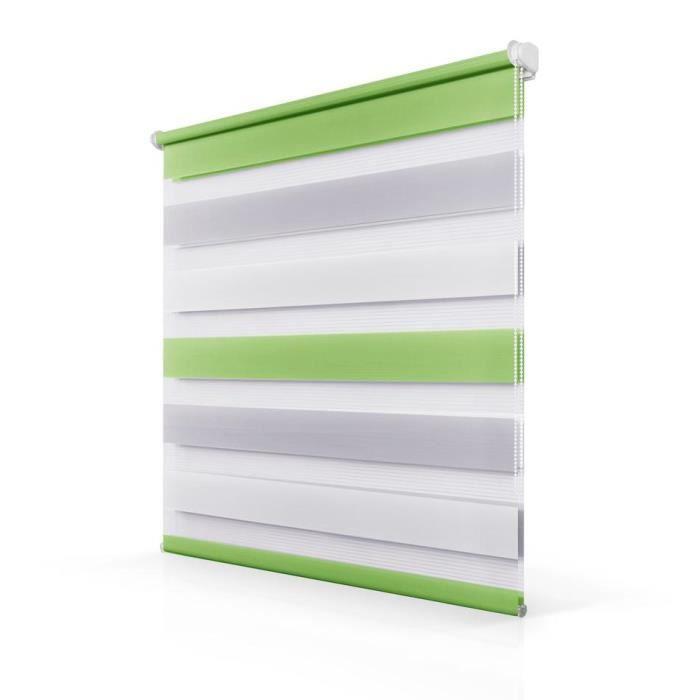 Store enrouleur tamisant 65x150cm Vert-Gris-Blanc Zebra Rideau de ...