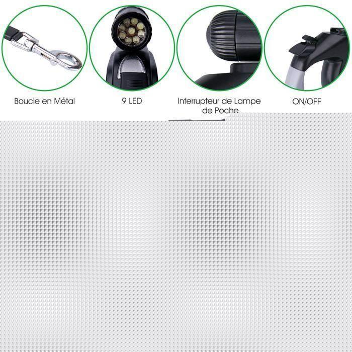 Laisse De Chien Rétractable Automatique 8m Poids 50kg Avec Led Lampe (piles Non Comprises)