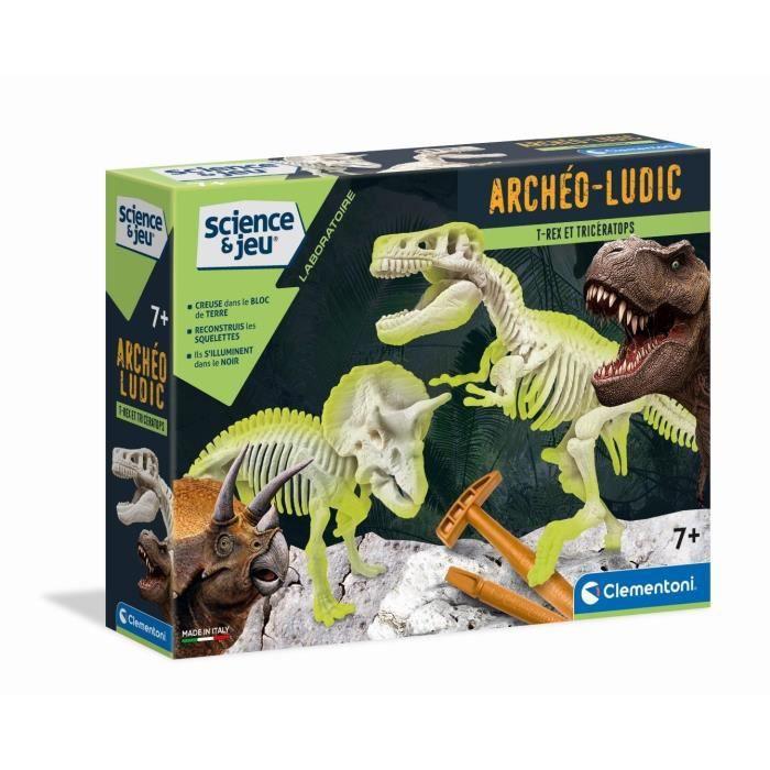 EXPÉRIENCE SCIENTIFIQUE CLEMENTONI Archéo T-Rex&Tricératops Phosphorescent