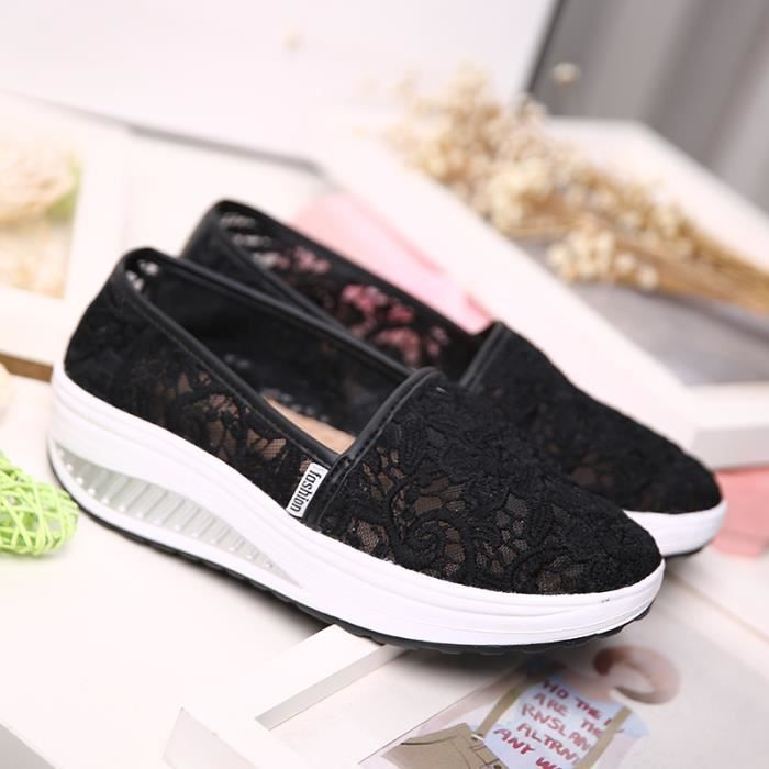Mesh Slip-On de la femme Plate-forme Chaussures Femmes Baskets Mocassins
