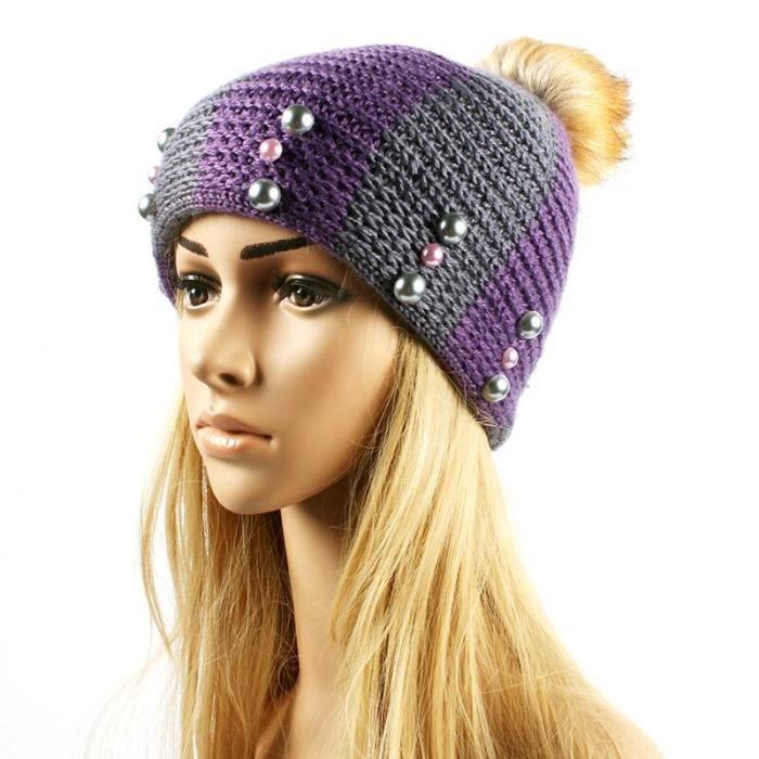 4c404bbdef4 Bonnet De Laine Avec Perles Outdoor Chaude Dame Bonnet Tricoté Chapeau