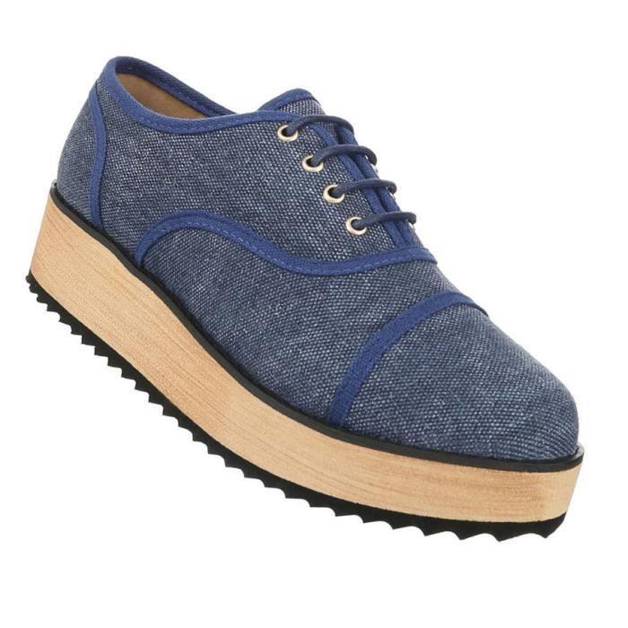 Femme chaussure bassechaussures Plateau Affaires Élégant lacer bleu 41