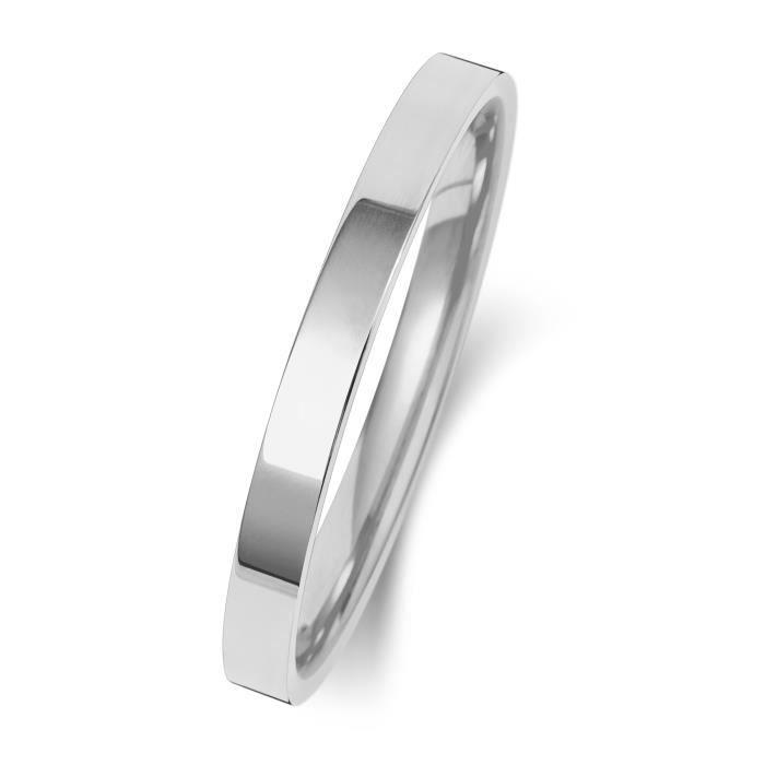Bague de Mariage-Alliance Homme-Femme 2mm Plat-Confort Or Blanc 375-1000 30964