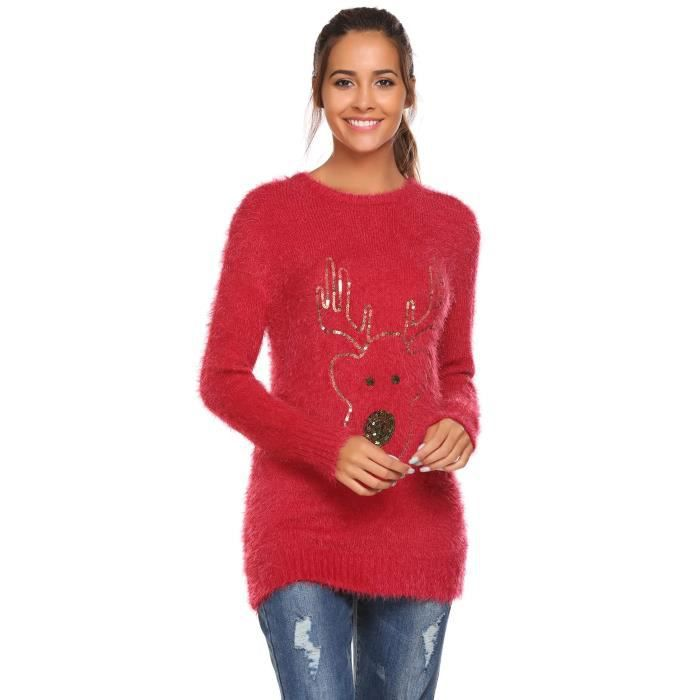 PULL Pullover Femmes Casual O Cou Longue Manche Séquell