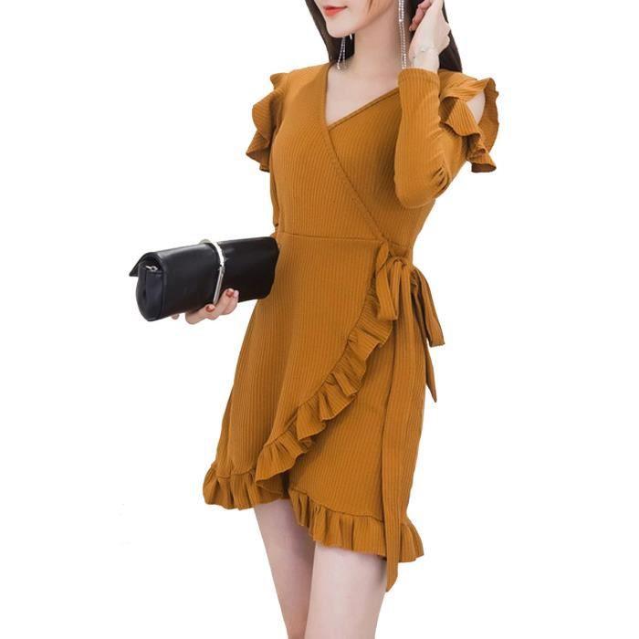 Femmes Robes col en V à volants à manches longues couleur unie Robe sexy 9651144
