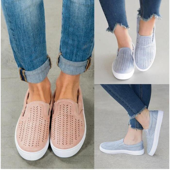 toile chaussures de rondes avec chaussures chaussures Plat des femmes de de creuses femmes 4BwUa1n