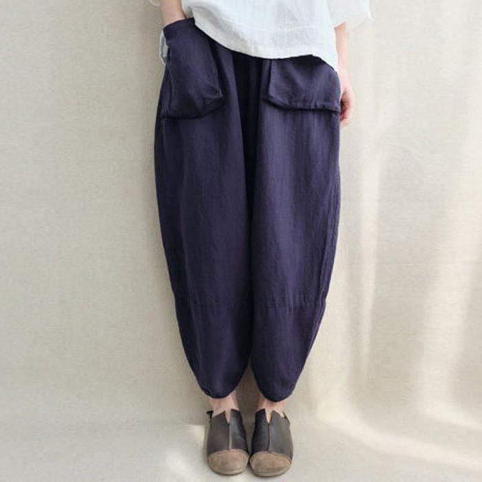 Plus Oversize Pantalonsmarine Vintage Sarouel Les Taille Pantalons Loose Femmes Ethniques Ywq5CTf