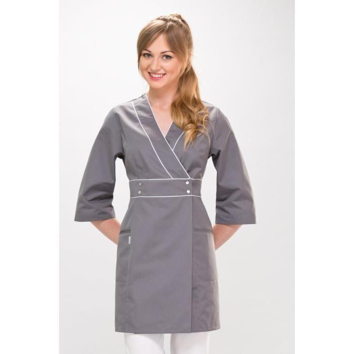 Blouse Medicale Femme Graphite Pro Couture L Gris Achat Vente